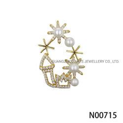 Chapado en oro amarillo de alta calidad Czs redondos con perla colgante de plata