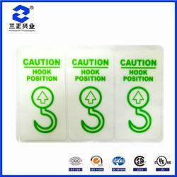 Equipo de diseño personalizado resistente al agua color blanco/verde gancho precaución la ubicación de la etiqueta de advertencia de seguridad