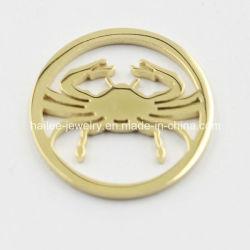 Vergoldung-Edelstahl Locket-hängende Münze überzieht Form-Schmucksachen