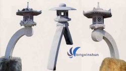 Lanterne de sculpture sur pierre naturelle gris
