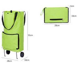 Caddie vert Sac shopping pliable portable avec des roues