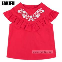 Primavera/Verano de los niños/Bebé vestir ropa de niños chica rojo bordado de algodón blusa