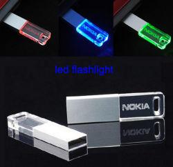 Em acrílico transparente de 128 MB de memória Flash-64GB Unidade USB de acrílico com LED