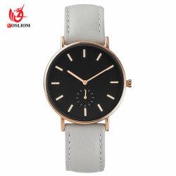 Bande de cuir gris quartz occasionnels montre-bracelet analogique #V573