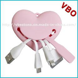 Nouveau Style en forme de coeur 4 en 1 USB Câble de Charing pour Mobile