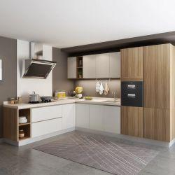 Mélange de grain en bois de style simple et chaleureuse finition laque mat armoires de cuisine de style contemporain avec carcasse de contreplaqué
