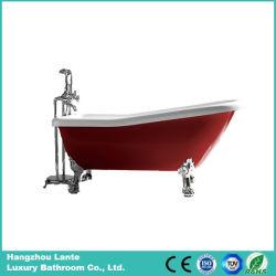 Heiße rote klassische Acrylbadewanne mit Aluminiumlegierung-Füßen (LT-11TR)