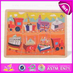 2015 quebra-cabeças de madeira pintada de bandeiras nacionais, Banheira de venda de madeira de desenhos animados para crianças de quebra-cabeças, jogos de puzzles educativos grossista Toy W14C150