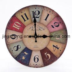 """Nouveau 12"""" style Vintage France Paris Horloge murale en bois coloré"""