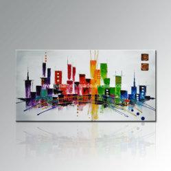 Heißer Verkaufs-handgemaltes modernes abstraktes Stadt-Segeltuch-Ölgemälde-Wand-Kunst-Wohnzimmer