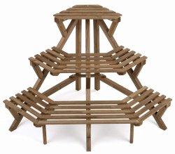 Jardin Stand du semoir en bois brun rustique en bois plateau de coin de rack à 3 niveaux