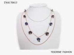 Nuevo diseño de moda de la llegada de la flor multi-capa Charms Necklace