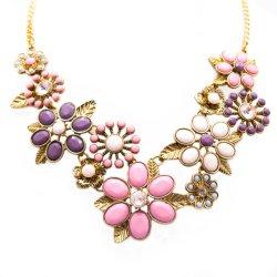 Accesorios de moda mujer joyas collar de declaración de apilamiento de flores