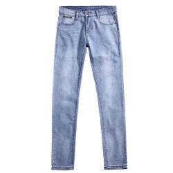 Голубой Zip для полетов по пошиву одежды промойте прямые джинсы для мужчин