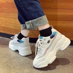 Женщин высокого каблука кроссовки, название торговой марки летние кроссовки дышащий белый крупный Обувь женская обувь повседневный высокого каблука плоские кроссовки