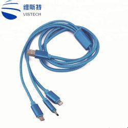 كبل شاحن متعدد من النايلون كبل USB متعدد مُسَفر Universal 3 في 1 محول سلك شحن مع موصلات منفذ USB من النوع C، وموصلات USB ميكرو للهواتف الخلوية وغيرها