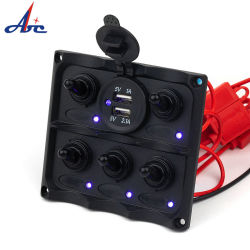 6 LED azul de la pista del panel de control de coche USB para marinos