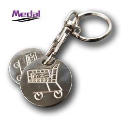 La vente directe en usine personnalisée gravée de fer métallique promotionnel 2D d'euros Pièces de monnaie pour chariot de supermarché Panier