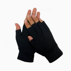 La compression de l'arthrite des gants de protection de la moitié des doigts Gants magnétique de soulager la douleur Fingerless cuivre noir