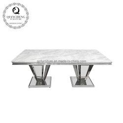 Moderner neuer Entwurfs-Möbel-Marmor-Oberseite-Edelstahl-Speisetisch
