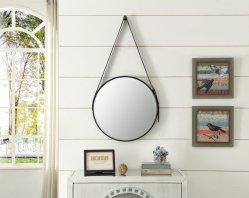 An der Wand befestigter schwarzer Farben-Rahmen-Badezimmer-Eitelkeits-Spiegel mit Seil oder ledernem Riemen