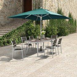 Patio al Aire Libre Mesa de Comedor de Aluminio de Madera de Polietileno y Silla Set Muebles de Jardín