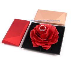 Doos van de Ring van de Juwelen van de rechthoek nam de Plastic voor de Doos van de Vertoning van de Trouwring met Rood binnen Goede Prijs toe