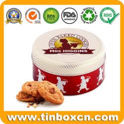 Ronda de metal de la caja de embalaje de alimentos, la Sra. Higgins galletas Cookies Tin