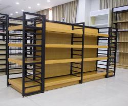 Nuevo diseño de moda de madera de acero de supermercados para mostrar los bienes