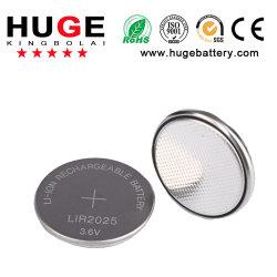 3.6V recargable de Litio Pila de botón Lir2025