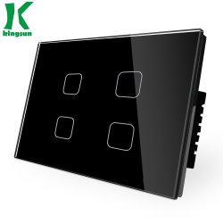 Nós o novo padrão Tipo 4pista1via interruptor de toque de vidro do painel preto