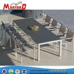 Exterior de acero inoxidable moderno juego de comedor Muebles de acero inoxidable