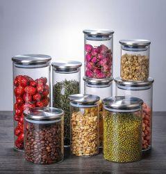 Custom стекло стекло кувшина герметичной стеклянной крышкой из нержавеющей стали для приготовления чая и осушитель кухня зернового бункера для хранения продуктов