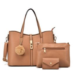 핫 셀 PU 비건 가죽 레이디 패션 디자이너 럭셔리 핸드백 3PCS 세트가 있는 여성용 호보 핸드백