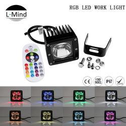 Commerce de gros 10-30V 3pouce de la télécommande LED RVB 15W Strobe Pod phare de travail de Cube