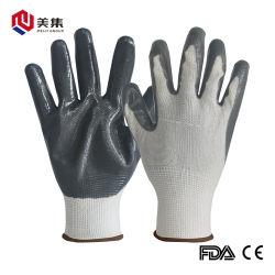Guanti poco costosi rivestiti di sicurezza del lavoro di Gray 13G di protezione del fornitore della Cina del poliestere del nitrile bianco della fodera