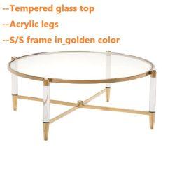 Acrílico de aço inoxidável mesa de café na cor dourada