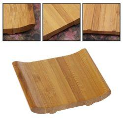La madera de bambú titular de jabón de baño con ducha Plato de soporte de la placa de Rack de almacenamiento de la bandeja de la caja Bt-6202