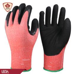 Leda 13 Dubbel van het Nitril van het Niveau F Hppe van de Besnoeiing van de Maat het Zandige die het Werk/van de Veiligheid/van het Werk Handschoenen met Gebreid met een laag wordt bedekt