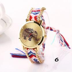 여자의 코끼리 인쇄 발렌타인 데이 어머니날 생일 선물 팔찌 시계 Esg13627를 위한 손목 시계에 의하여 길쌈되는 밧줄 악대 조정가능한 팔찌 석영 시계