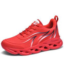 Vlam van mensen drukte de Schoenen die van Tennisschoenen af Atletische Schoenen van de Mensen van de Loopschoenen van de Schoenen van de Sporten van het Weefsel de Comfortabele Openlucht vliegen