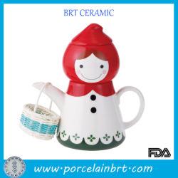Новизна красным верхом на лошадях капот маленькая девочка фарфора Teapot подарок