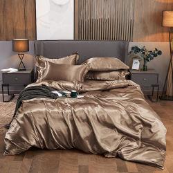Folhas de poliéster de seda de cor champanhe PCS 4 edredão de plumas cobrir carpete sheet fronhas extras definidos