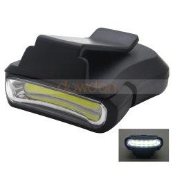 COB LED lampe de poche sur le clip blanc Cap Hat lampe phare vélo de randonnée pédestre Camping avec la batterie