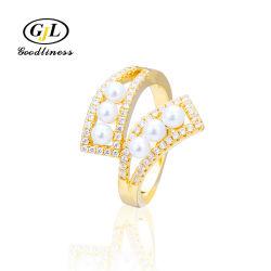 Kundenspezifisches Gold 18K überzog 925 die Sterlingsilber-Perlen-Ring-Schmucksachen
