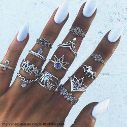 13ПК женщин украшения Vintage геометрической Flower Crystal кольцо кольца поворотного кулака