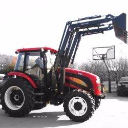 De Lader van het VoorEind van de Machines van het landbouwbedrijf met de Gebruikte Banden van de Tractor van het Landbouwbedrijf