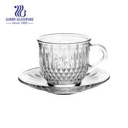 Novo Design de diamante caneca de vidro e a placa para beber chá e café (TZ-GB09D0805ZS)