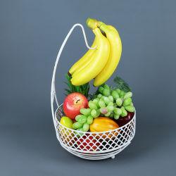 Tudo em um nórdico decorativo Branco Ferro Metal fio frutas Suporte Banana para o cesto com cabide Banana Tree