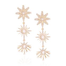 Nuovo orecchino lungo di cerimonia nuziale placcato di stile 2020 oro con le perle ed i diamanti enormi dei cristalli